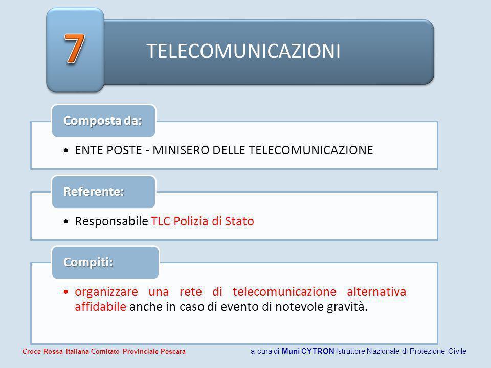TELECOMUNICAZIONI ENTE POSTE - MINISERO DELLE TELECOMUNICAZIONE Composta da: Responsabile TLC Polizia di Stato Referente: organizzare una rete di tele