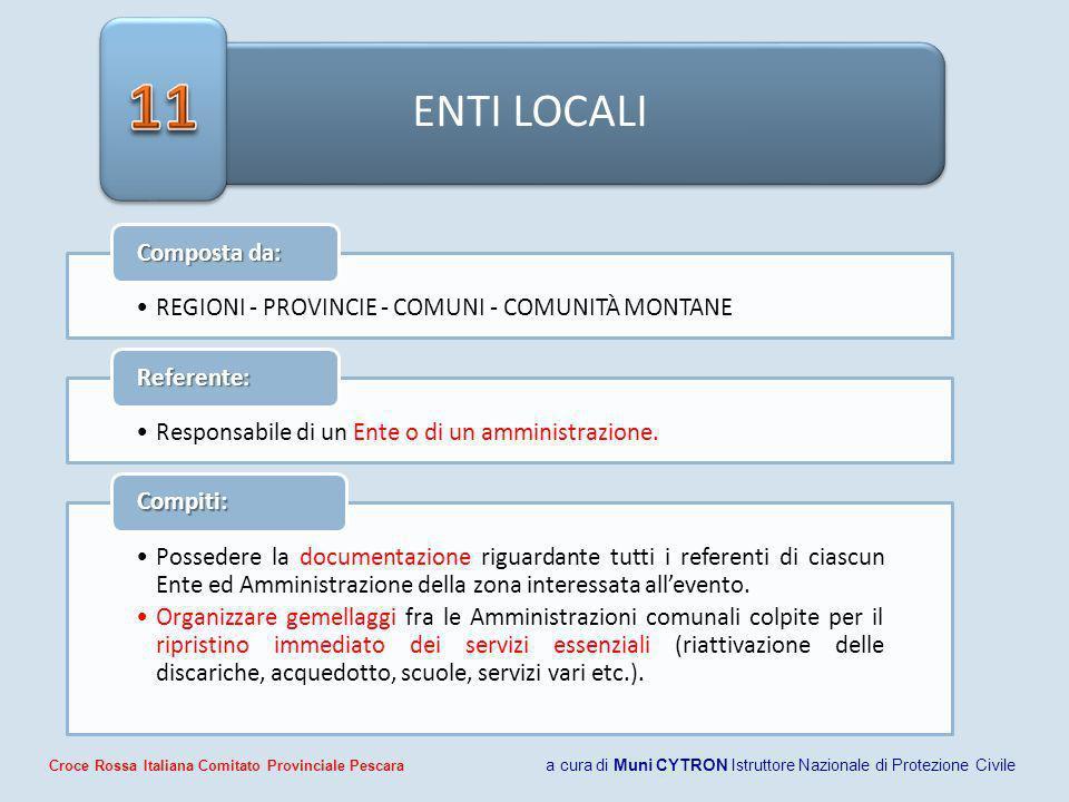 ENTI LOCALI REGIONI - PROVINCIE - COMUNI - COMUNITÀ MONTANE Composta da: Responsabile di un Ente o di un amministrazione.