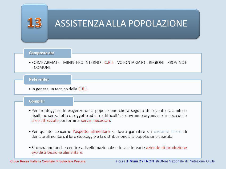 ASSISTENZA ALLA POPOLAZIONE FORZE ARMATE - MINISTERO INTERNO - C.R.I.