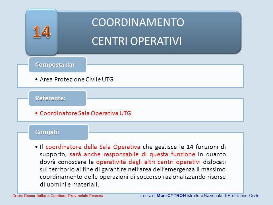 COORDINAMENTO CENTRI OPERATIVI Area Protezione Civile UTG Composta da: Coordinatore Sala Operativa UTG Referente: Il coordinatore della Sala Operativa