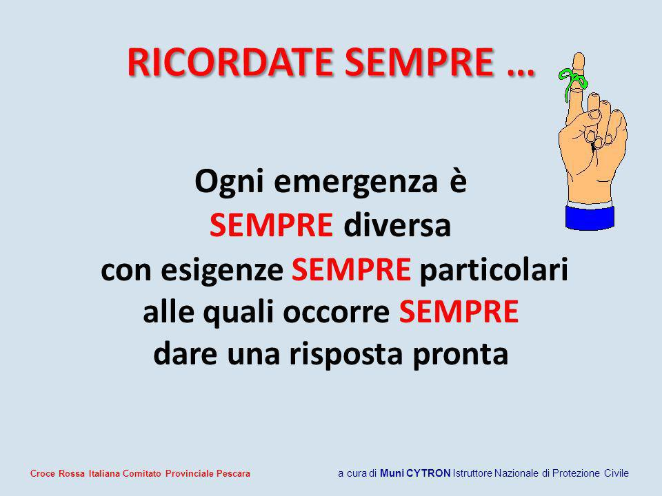 Ogni emergenza è SEMPRE diversa con esigenze SEMPRE particolari alle quali occorre SEMPRE dare una risposta pronta Croce Rossa Italiana Comitato Provi