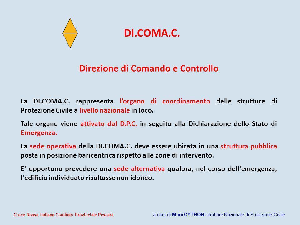 Direzione di Comando e Controllo La DI.COMA.C. rappresenta lorgano di coordinamento delle strutture di Protezione Civile a livello nazionale in loco.