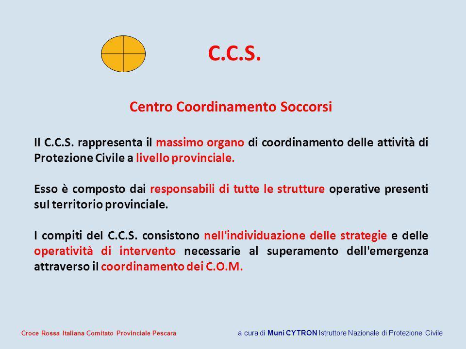 C.C.S. Centro Coordinamento Soccorsi Il C.C.S. rappresenta il massimo organo di coordinamento delle attività di Protezione Civile a livello provincial