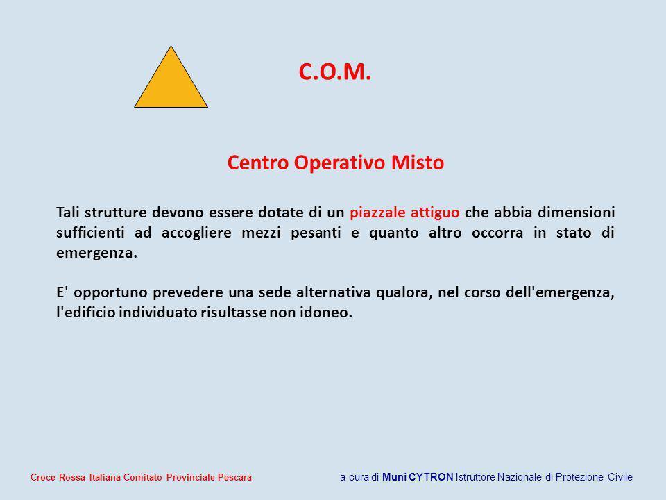 C.O.M. Centro Operativo Misto Tali strutture devono essere dotate di un piazzale attiguo che abbia dimensioni sufficienti ad accogliere mezzi pesanti