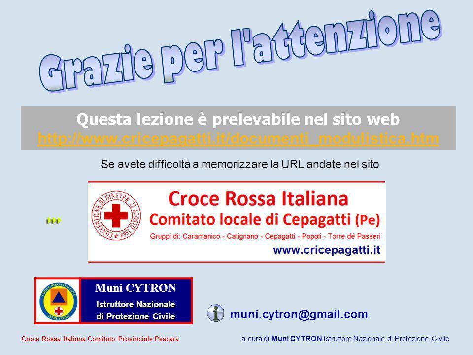 Muni CYTRON Istruttore Nazionale di Protezione Civile di Protezione Civile Questa lezione è prelevabile nel sito web http://www.cricepagatti.it/docume