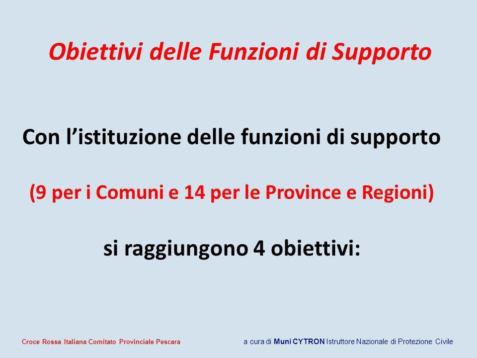 Obiettivi delle Funzioni di Supporto Con listituzione delle funzioni di supporto (9 per i Comuni e 14 per le Province e Regioni) si raggiungono 4 obie