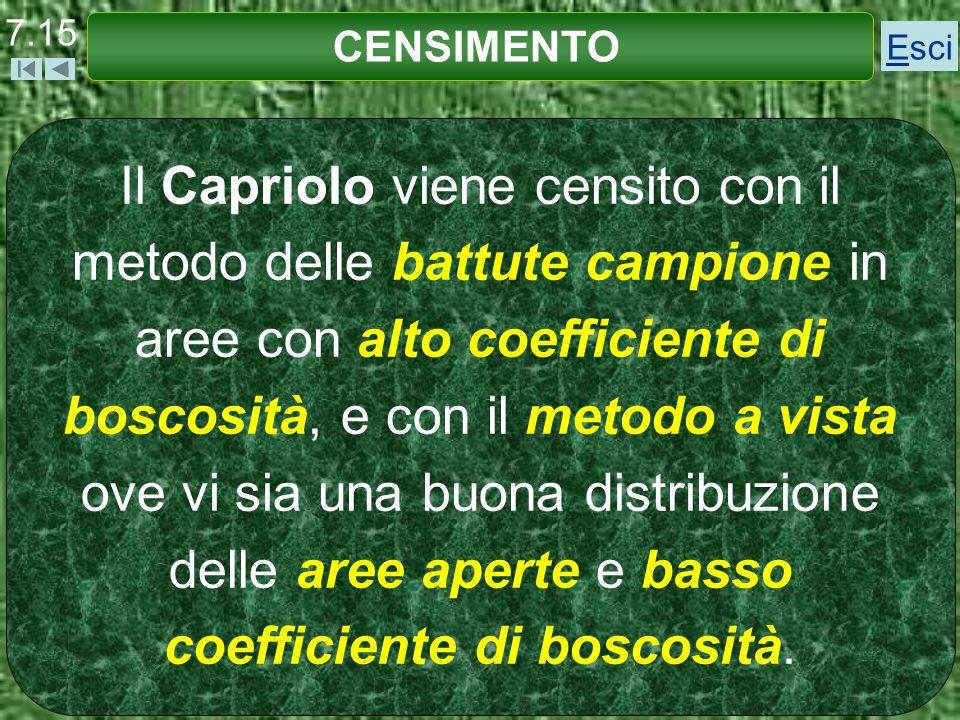 Il Capriolo viene censito con il metodo delle battute campione in aree con alto coefficiente di boscosità, e con il metodo a vista ove vi sia una buon