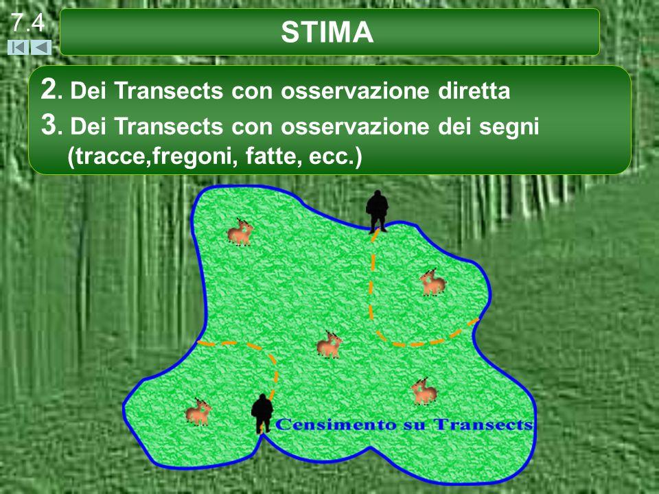 STIMA 7.4 2. Dei Transects con osservazione diretta 3. Dei Transects con osservazione dei segni (tracce,fregoni, fatte, ecc.)
