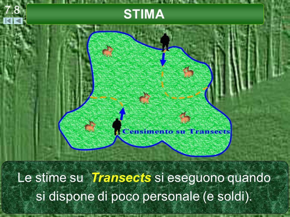 Le stime su Transects si eseguono quando si dispone di poco personale (e soldi). STIMA 7.8