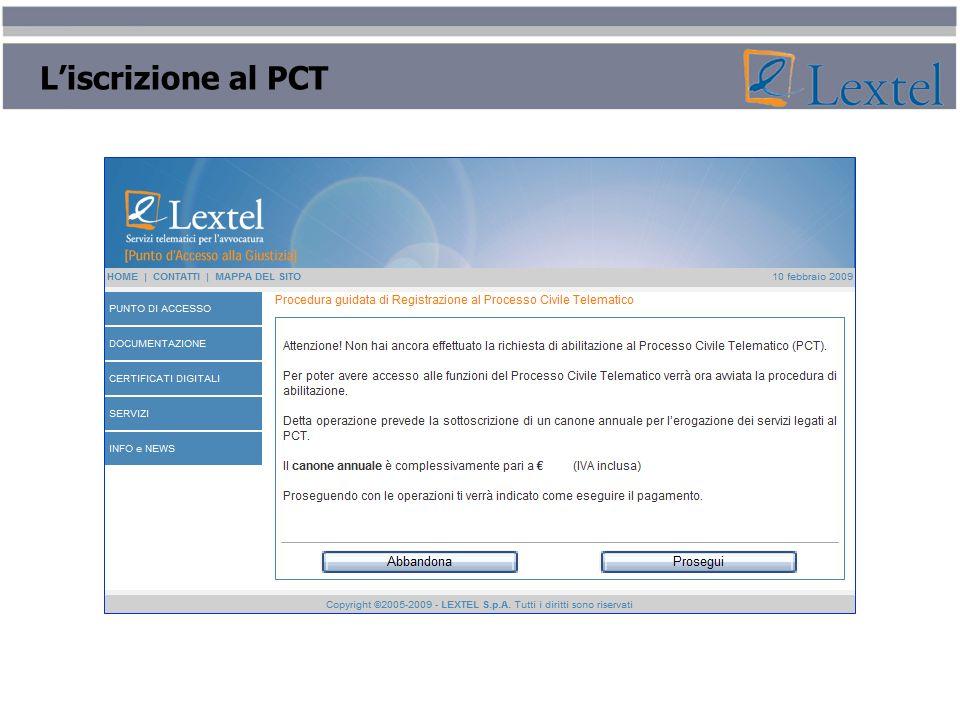 Liscrizione al PCT