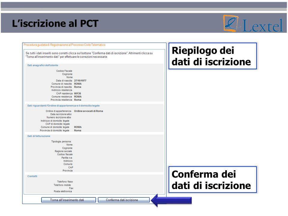 Liscrizione al PCT Riepilogo dei dati di iscrizione Conferma dei dati di iscrizione