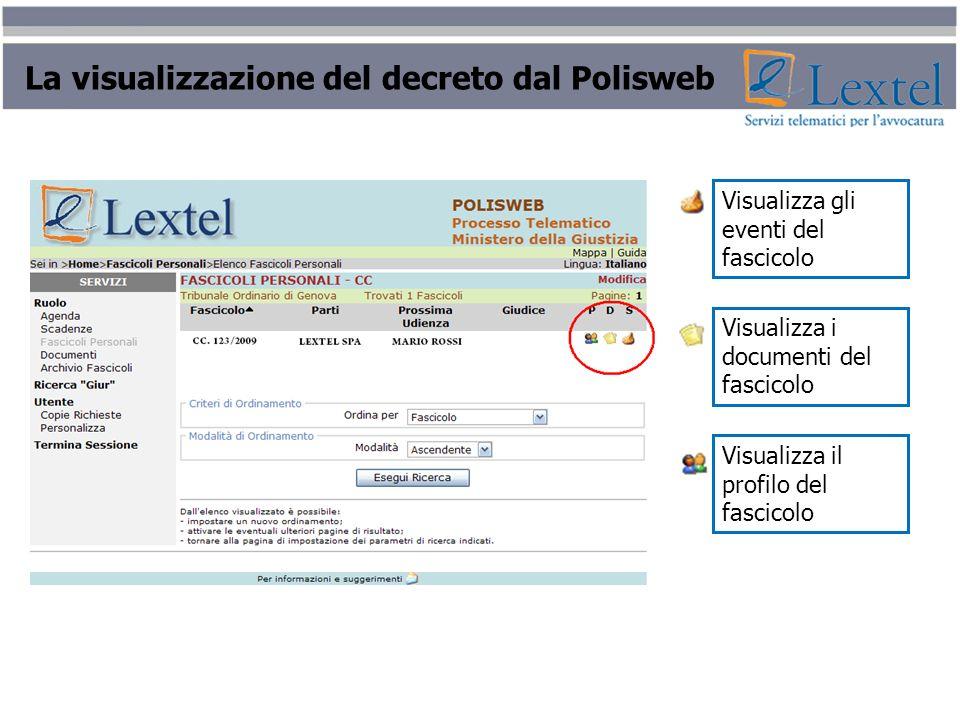 La visualizzazione del decreto dal Polisweb Visualizza gli eventi del fascicolo Visualizza i documenti del fascicolo Visualizza il profilo del fascico