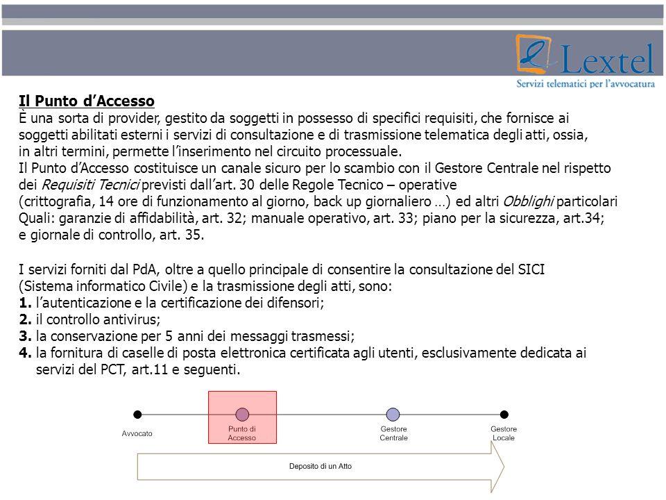 Il Punto dAccesso È una sorta di provider, gestito da soggetti in possesso di specifici requisiti, che fornisce ai soggetti abilitati esterni i serviz