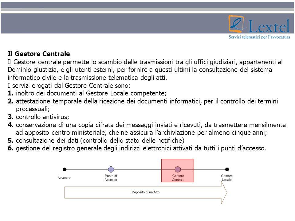 Il Gestore Centrale Il Gestore centrale permette lo scambio delle trasmissioni tra gli uffici giudiziari, appartenenti al Dominio giustizia, e gli ute