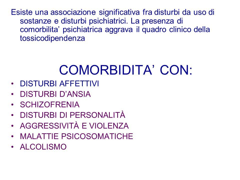 Esiste una associazione significativa fra disturbi da uso di sostanze e disturbi psichiatrici. La presenza di comorbilita psichiatrica aggrava il quad