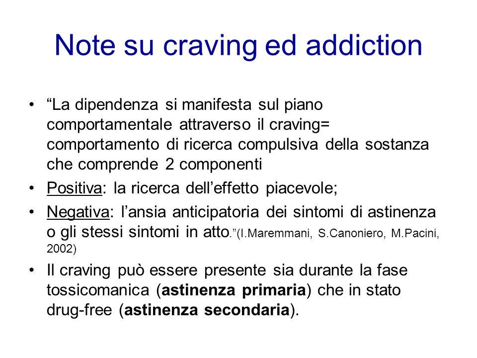 Note su craving ed addiction La dipendenza si manifesta sul piano comportamentale attraverso il craving= comportamento di ricerca compulsiva della sos