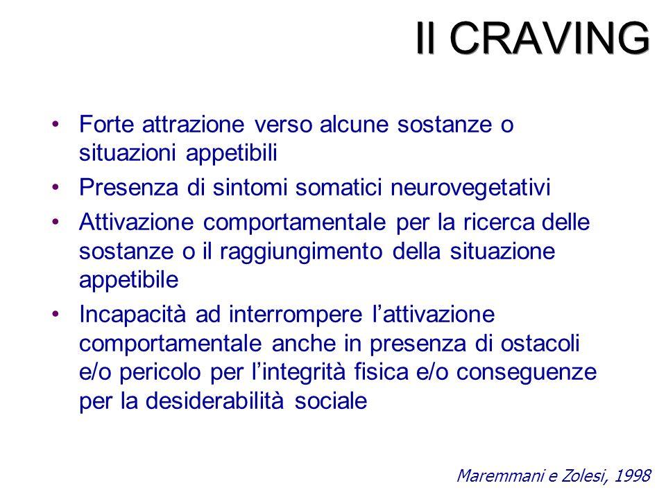 Il CRAVING Forte attrazione verso alcune sostanze o situazioni appetibili Presenza di sintomi somatici neurovegetativi Attivazione comportamentale per