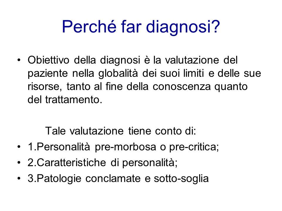 Perché far diagnosi? Obiettivo della diagnosi è la valutazione del paziente nella globalità dei suoi limiti e delle sue risorse, tanto al fine della c
