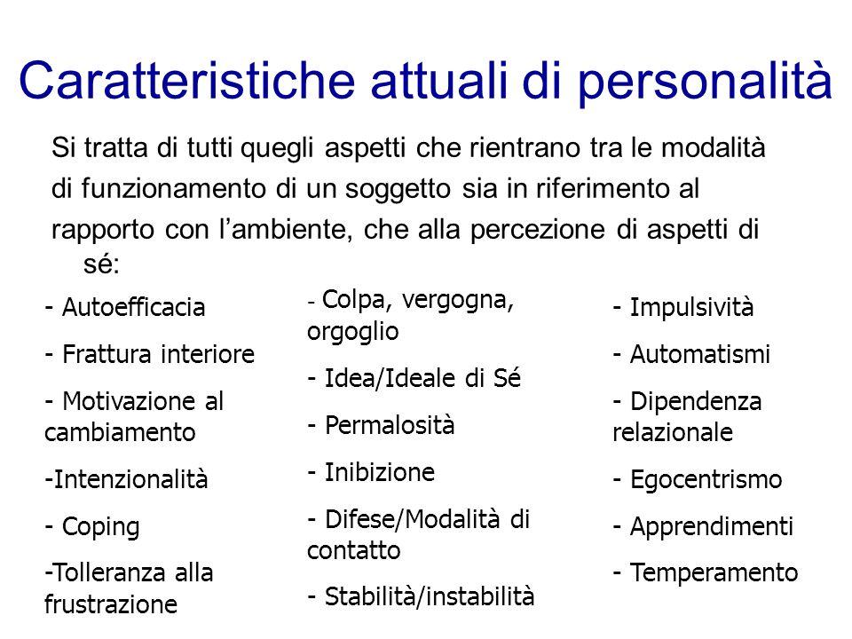 Caratteristiche attuali di personalità Si tratta di tutti quegli aspetti che rientrano tra le modalità di funzionamento di un soggetto sia in riferime