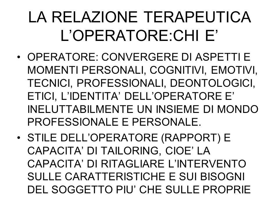 LA RELAZIONE TERAPEUTICA LOPERATORE:CHI E OPERATORE: CONVERGERE DI ASPETTI E MOMENTI PERSONALI, COGNITIVI, EMOTIVI, TECNICI, PROFESSIONALI, DEONTOLOGI