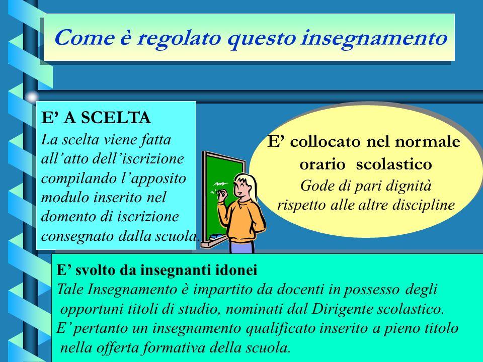 14 Come è regolato questo insegnamento E A SCELTA La scelta viene fatta allatto delliscrizione compilando lapposito modulo inserito nel domento di iscrizione consegnato dalla scuola.