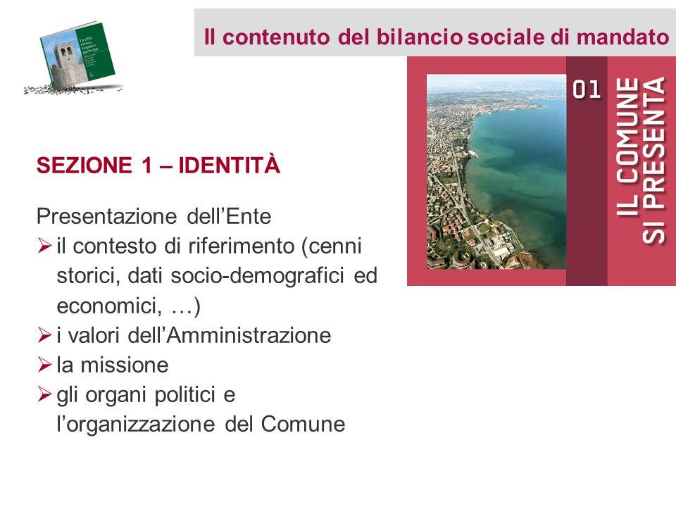 SEZIONE 1 – IDENTITÀ Presentazione dellEnte il contesto di riferimento (cenni storici, dati socio-demografici ed economici, …) i valori dellAmministra