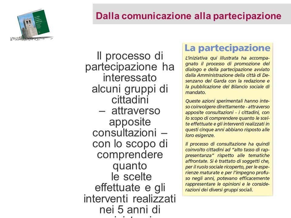 Dalla comunicazione alla partecipazione Il processo di partecipazione ha interessato alcuni gruppi di cittadini – attraverso apposite consultazioni –
