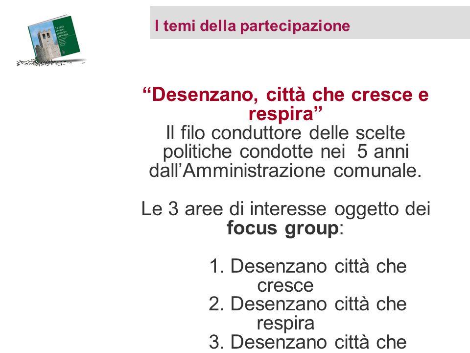 I temi della partecipazione Desenzano, città che cresce e respira Il filo conduttore delle scelte politiche condotte nei 5 anni dallAmministrazione co