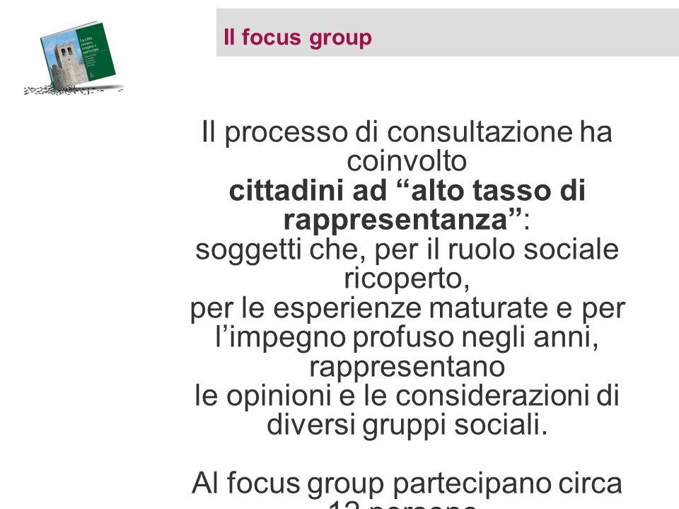 Il focus group Il processo di consultazione ha coinvolto cittadini ad alto tasso di rappresentanza: soggetti che, per il ruolo sociale ricoperto, per le esperienze maturate e per limpegno profuso negli anni, rappresentano le opinioni e le considerazioni di diversi gruppi sociali.