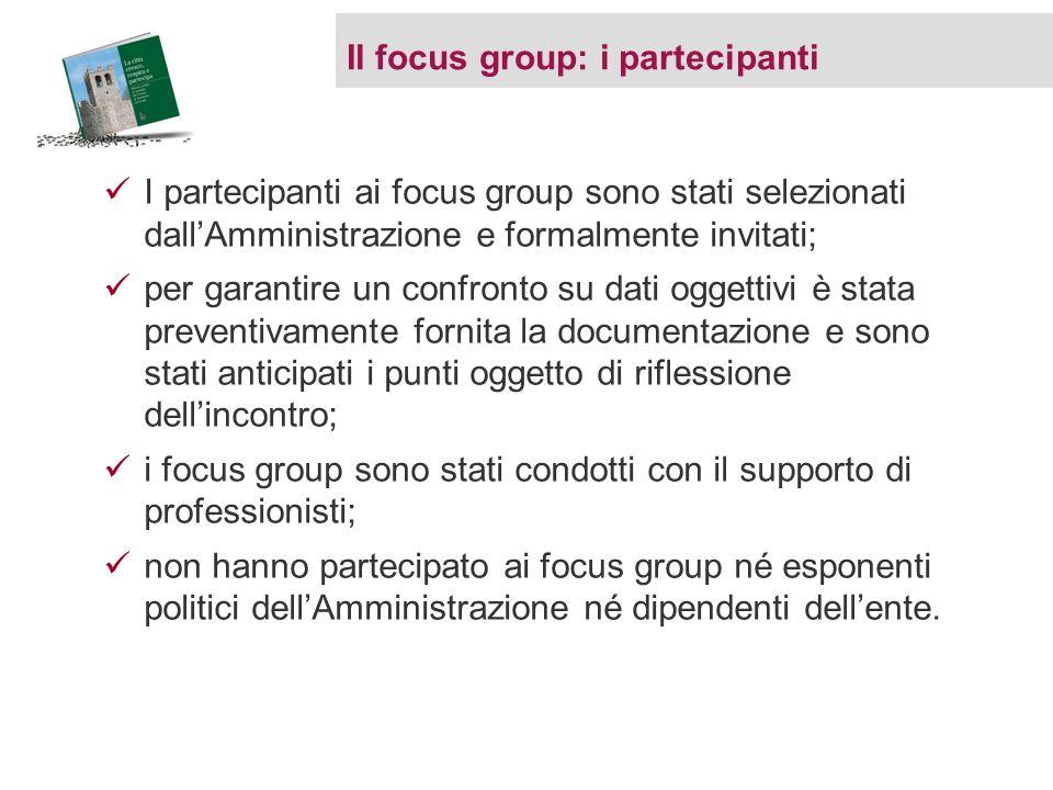 I partecipanti ai focus group sono stati selezionati dallAmministrazione e formalmente invitati; per garantire un confronto su dati oggettivi è stata
