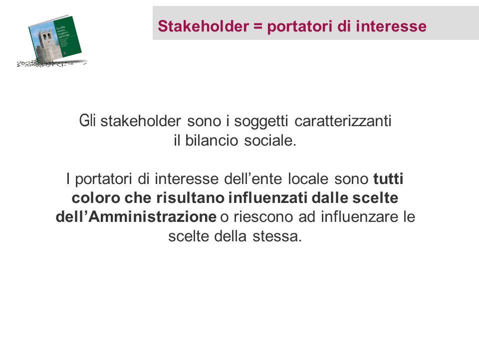 Stakeholder = portatori di interesse Gli stakeholder sono i soggetti caratterizzanti il bilancio sociale. I portatori di interesse dellente locale son