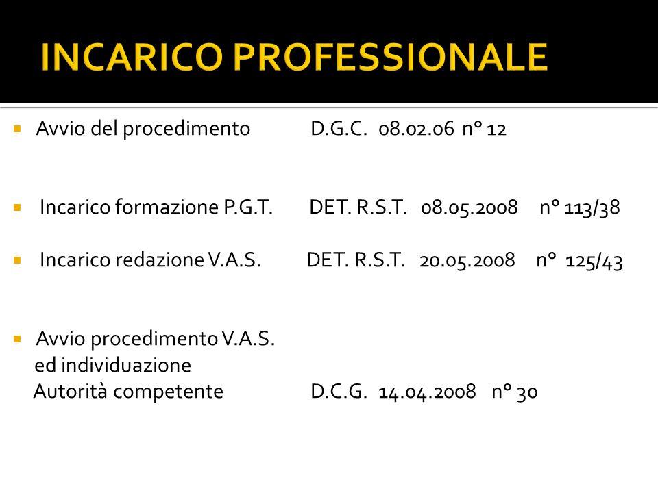 INCARICO PROFESSIONALE Avvio del procedimento D.G.C.