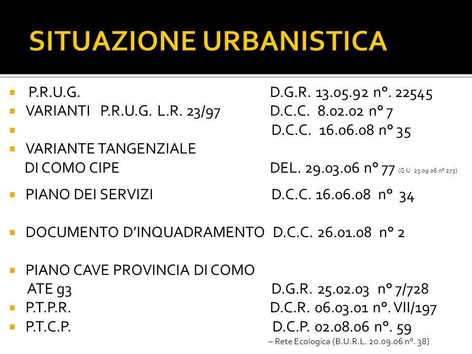 SITUAZIONE URBANISTICA P.R.U.G.D.G.R. 13.05.92 n°.