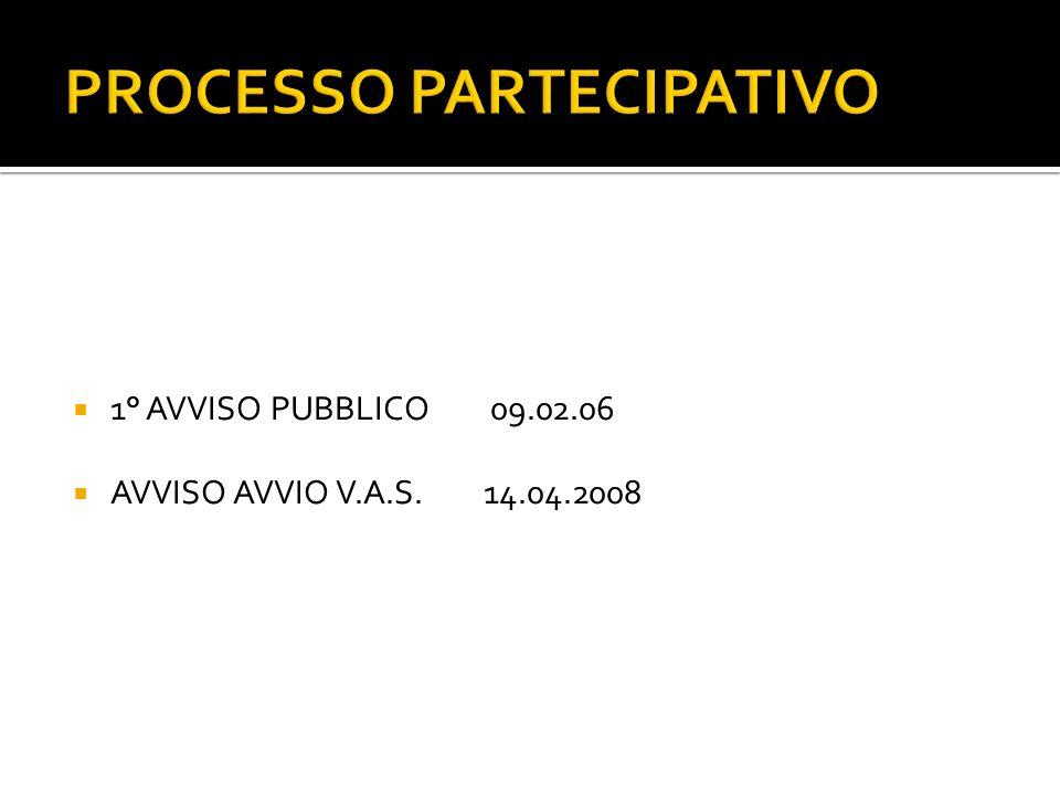 PROCESSO PARTECIPATIVO 1° AVVISO PUBBLICO 09.02.06 AVVISO AVVIO V.A.S.14.04.2008