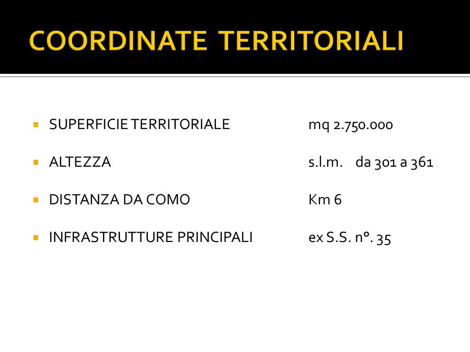 SUPERFICIE TERRITORIALEmq 2.750.000 ALTEZZA s.l.m.da 301 a 361 DISTANZA DA COMOKm 6 INFRASTRUTTURE PRINCIPALIex S.S.