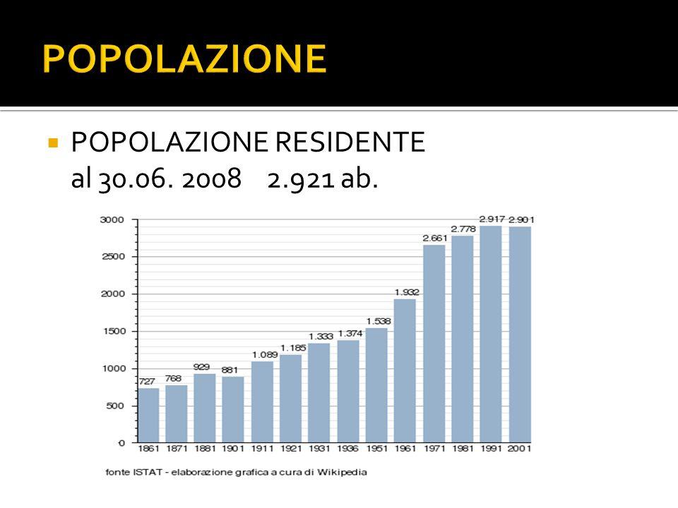 POPOLAZIONE RESIDENTE al 30.06. 2008 2.921 ab.