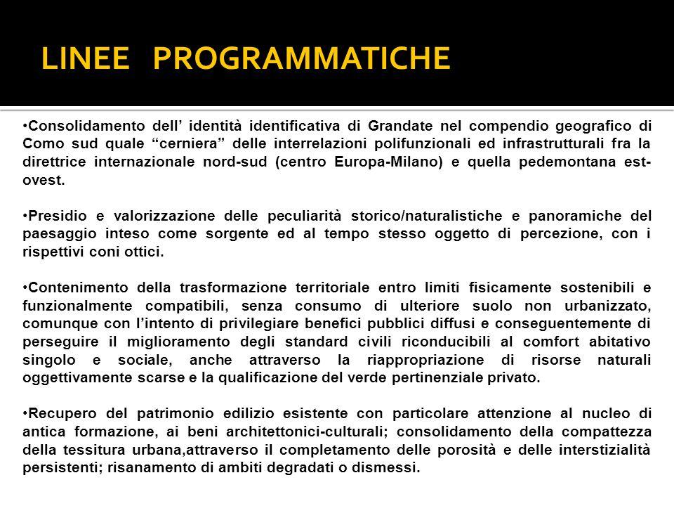 LINEE PROGRAMMATICHE Consolidamento dell identità identificativa di Grandate nel compendio geografico di Como sud quale cerniera delle interrelazioni polifunzionali ed infrastrutturali fra la direttrice internazionale nord-sud (centro Europa-Milano) e quella pedemontana est- ovest.