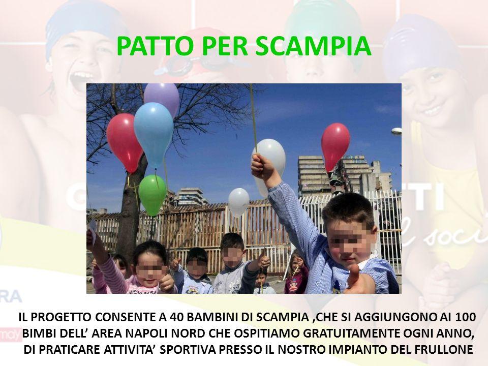 PATTO PER SCAMPIA IL PROGETTO CONSENTE A 40 BAMBINI DI SCAMPIA,CHE SI AGGIUNGONO AI 100 BIMBI DELL AREA NAPOLI NORD CHE OSPITIAMO GRATUITAMENTE OGNI ANNO, DI PRATICARE ATTIVITA SPORTIVA PRESSO IL NOSTRO IMPIANTO DEL FRULLONE
