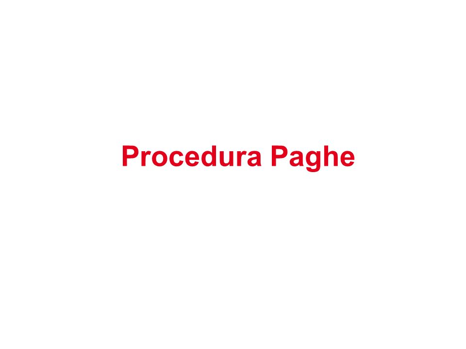 Procedura Paghe