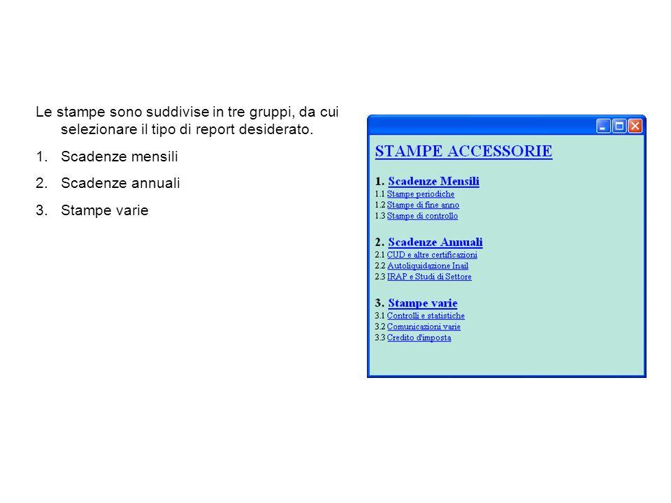 Le stampe sono suddivise in tre gruppi, da cui selezionare il tipo di report desiderato. 1.Scadenze mensili 2.Scadenze annuali 3.Stampe varie