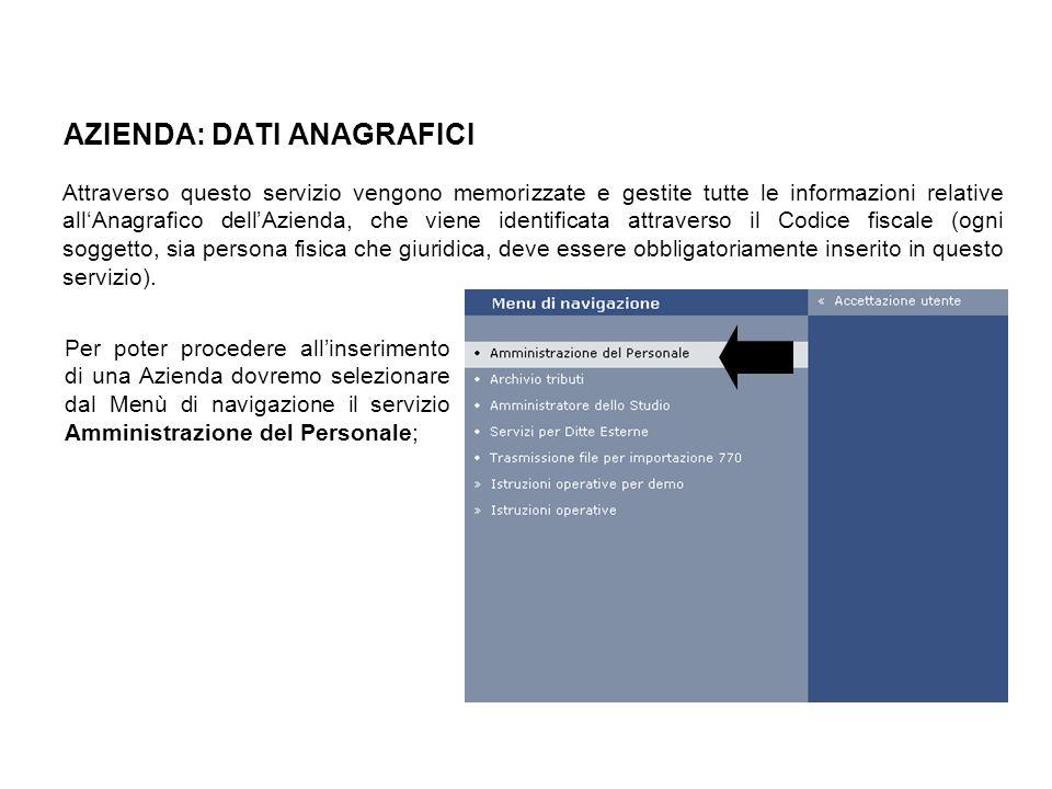 AZIENDA: DATI ANAGRAFICI Attraverso questo servizio vengono memorizzate e gestite tutte le informazioni relative allAnagrafico dellAzienda, che viene
