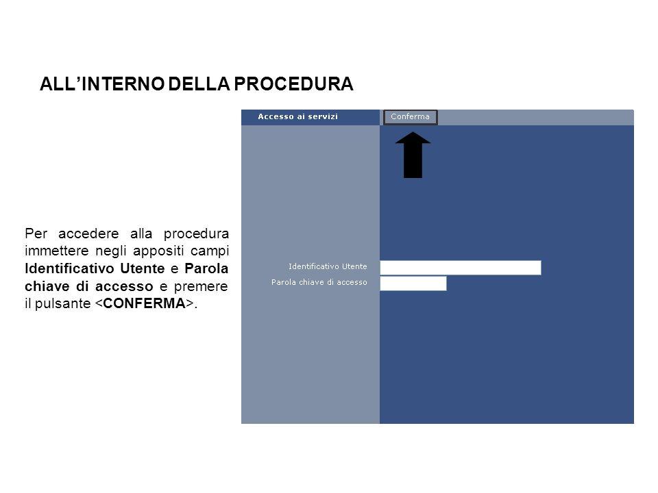 ALLINTERNO DELLA PROCEDURA Per accedere alla procedura immettere negli appositi campi Identificativo Utente e Parola chiave di accesso e premere il pu