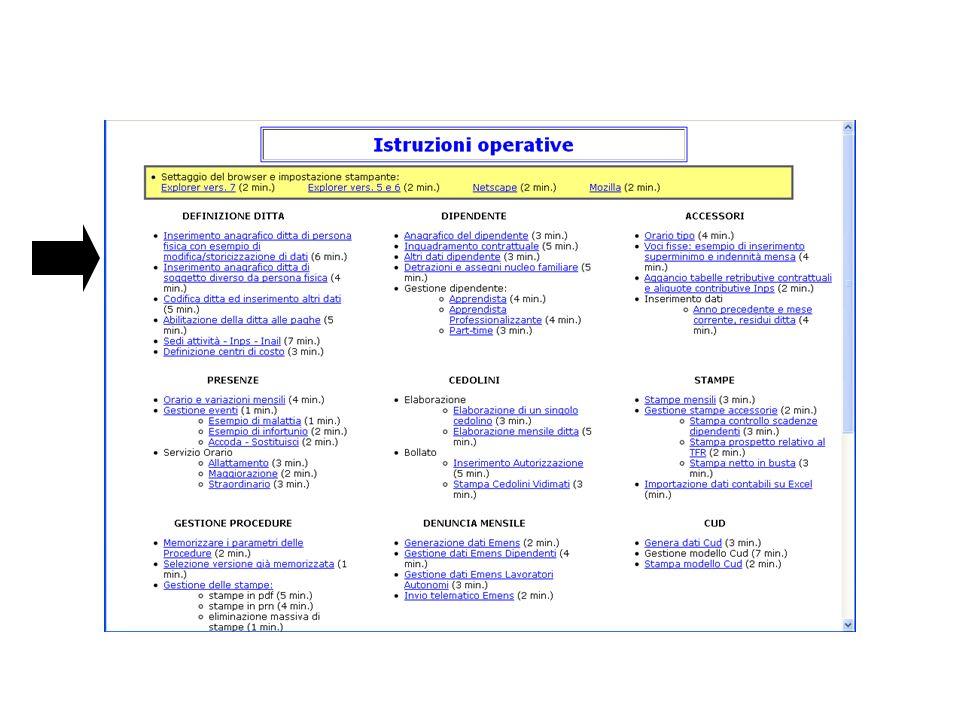 In tutti i servizi presenti nella procedura è possibile avvalersi di un HELP in linea che fornisce dettagliate istruzioni per ogni singolo campo da utilizzare.