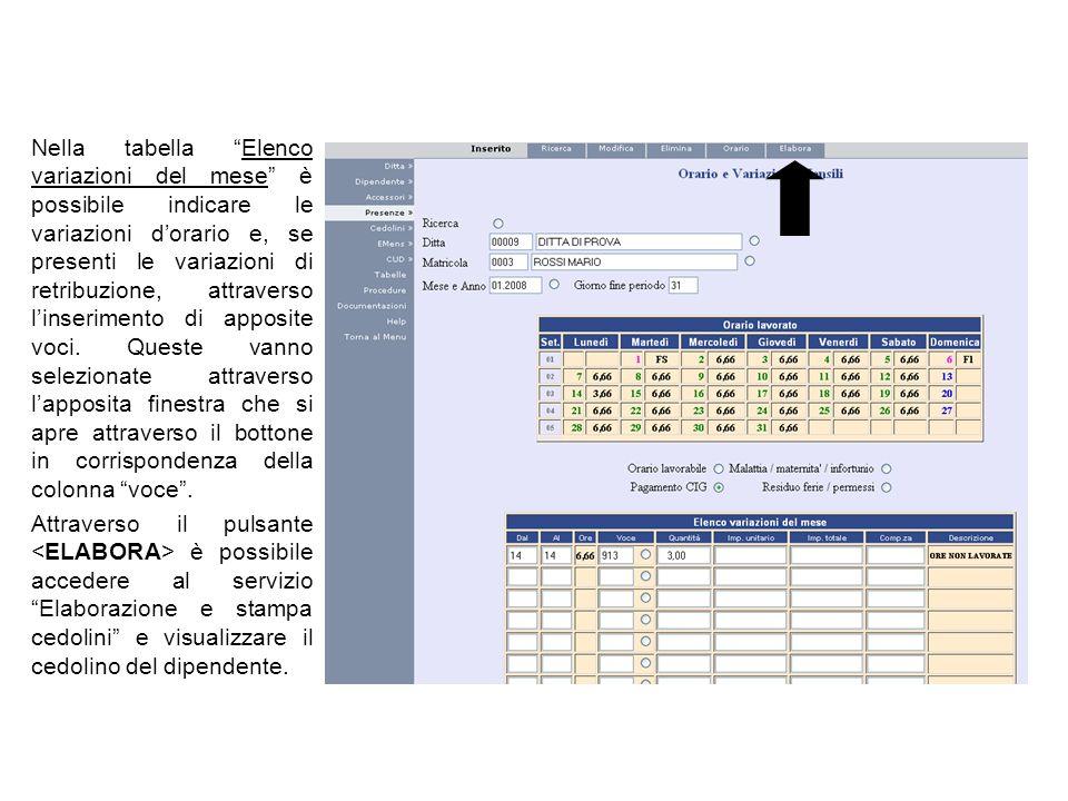 Nella tabella Elenco variazioni del mese è possibile indicare le variazioni dorario e, se presenti le variazioni di retribuzione, attraverso linserime