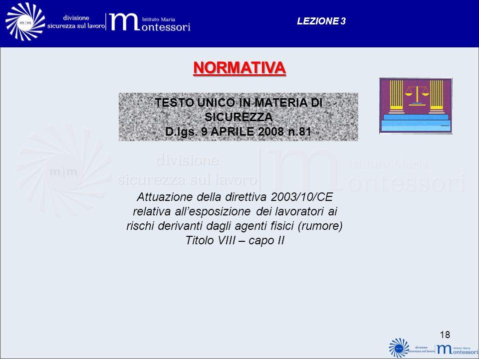 NORMATIVA TESTO UNICO IN MATERIA DI SICUREZZA D.lgs.