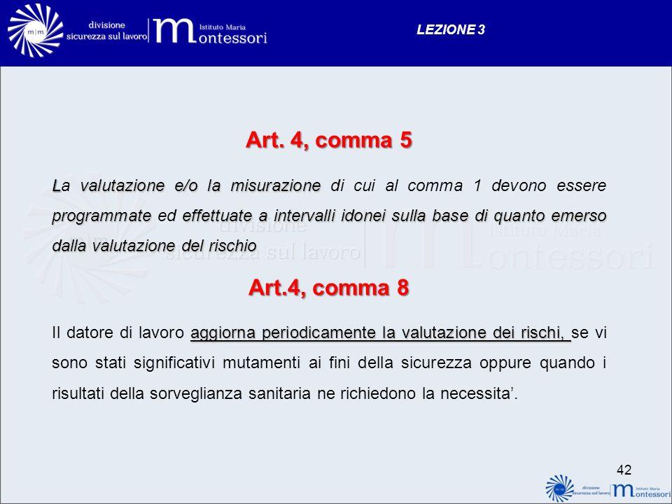 Art. 4, comma 5 Lvalutazione e/o la misurazione programmate effettuate a intervalli idonei sulla base di quanto emerso dalla valutazione del rischio L