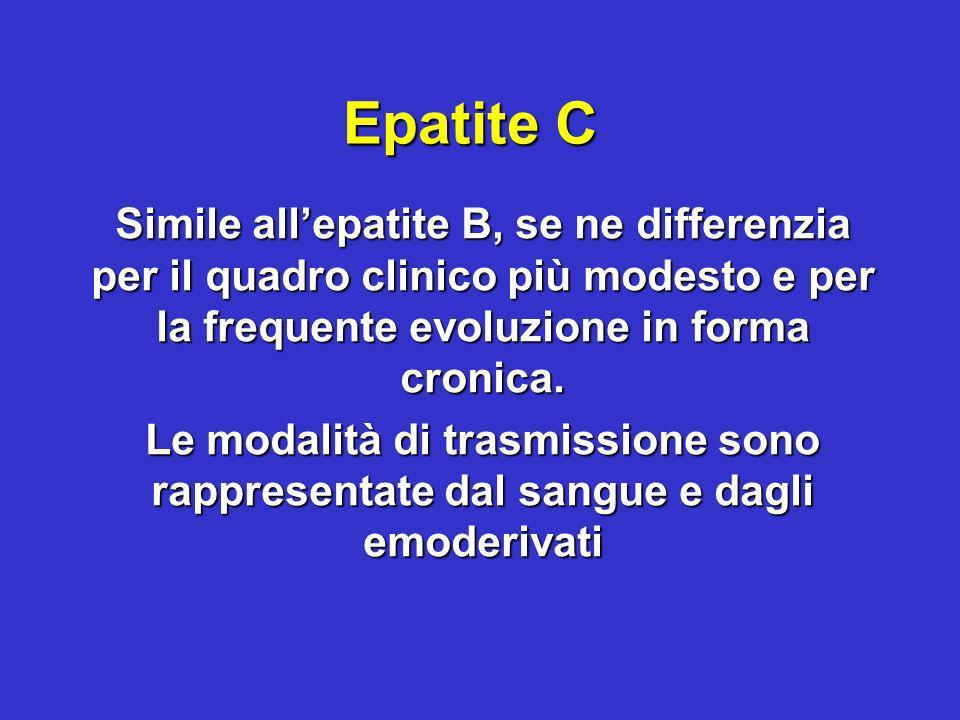Epatite C Simile allepatite B, se ne differenzia per il quadro clinico più modesto e per la frequente evoluzione in forma cronica. Le modalità di tras