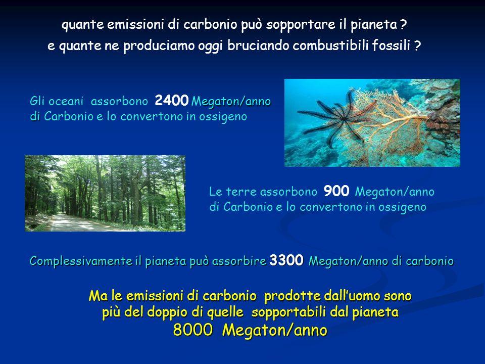 egaton/anno di Gli oceani assorbono 2400 Megaton/anno di Carbonio e lo convertono in ossigeno Le terre assorbono 900 Megaton/anno di Carbonio e lo convertono in ossigeno Complessivamente il pianeta può assorbire 3300 Megaton/anno di carbonio Complessivamente il pianeta può assorbire 3300 Megaton/anno di carbonio Ma le emissioni di carbonio prodotte dalluomo sono più del doppio di quelle sopportabili dal pianeta 8000 Megaton/anno quante emissioni di carbonio può sopportare il pianeta .