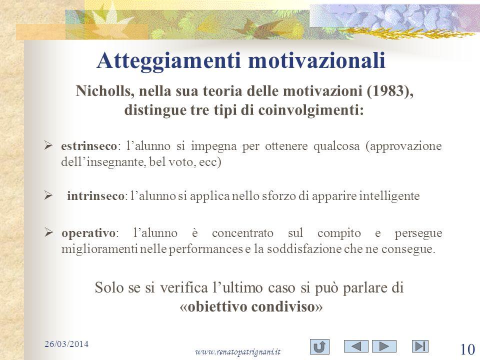 Atteggiamenti motivazionali 26/03/2014 www.renatopatrignani.it 10 Nicholls, nella sua teoria delle motivazioni (1983), distingue tre tipi di coinvolgi
