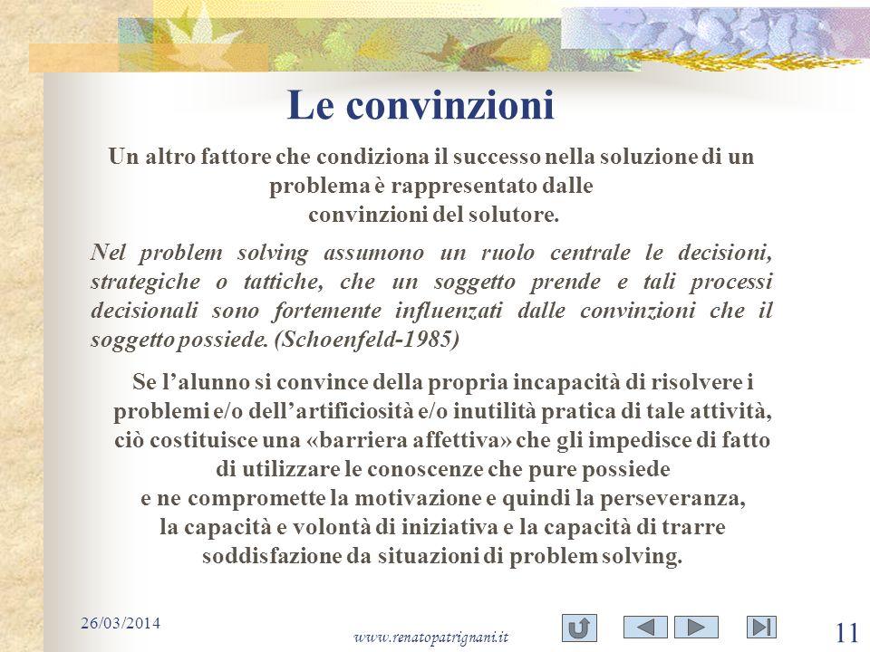 Le convinzioni 26/03/2014 www.renatopatrignani.it 11 Un altro fattore che condiziona il successo nella soluzione di un problema è rappresentato dalle